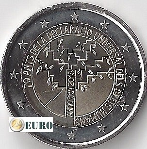 2 euro Andorra 2018 - 70 jaar Mensenrechten UNC