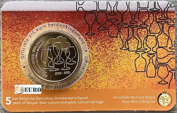 2,50 euros Belgique 2021 - Culture de la bière 5 ans héritage BU FDC Coincard NL