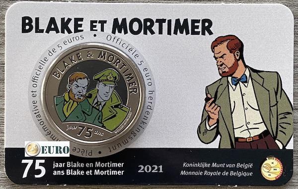 5 euro Belgie 2021 - Blake en Mortimer BU FDC Coincard Gekleurd