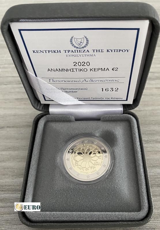 2 euros Chypre 2020 - Institut neurologie et génétique BE Proof