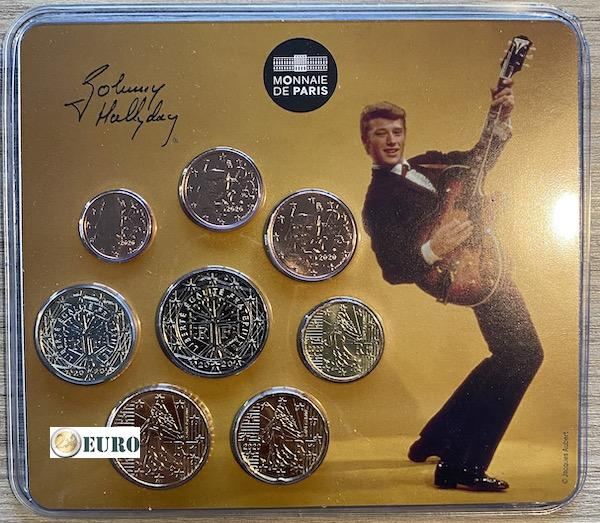 Euro miniset BU FDC Frankrijk 2020 Johnny Hallyday - vintage gitaar