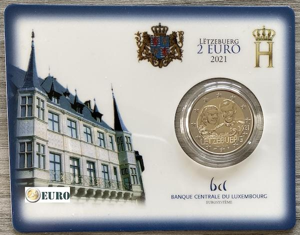 2 euro Luxemburg 2021 - 40 jaar huwelijk Henri BU FDC Coincard