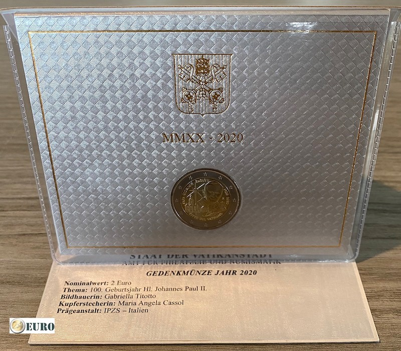 2 euros Vatican 2020 - 100 ans Pape Jean-Paul II BU FDC