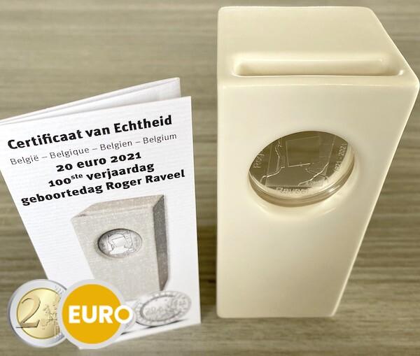20 euro Belgie 2021 - Raveel BE Proof Zilver Keramiek
