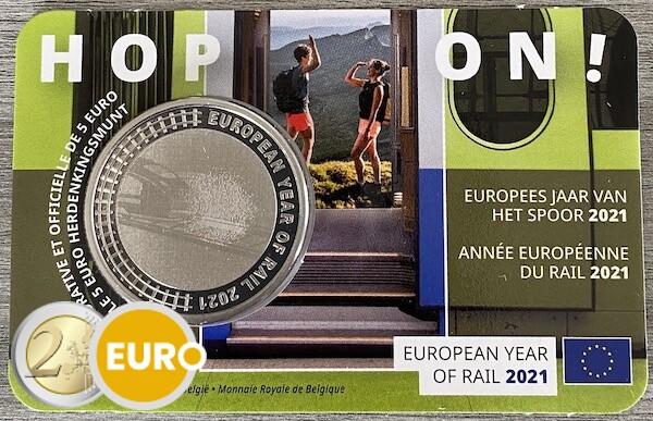 5 euro Belgie 2021 - Europees jaar van het spoor BU FDC Coincard