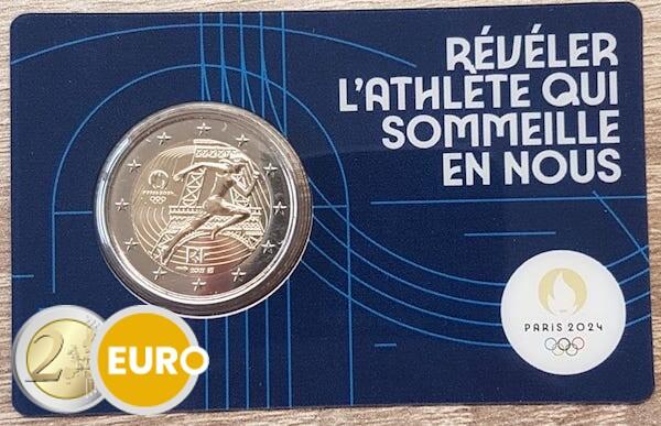 2 euros France 2021 - Remise drapeau olympique BU FDC Coincard