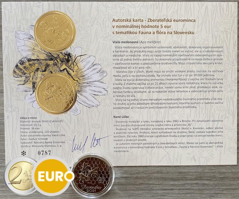 5 euros Slovaquie 2021 - Abeille UNC avec certificat d'authenticité
